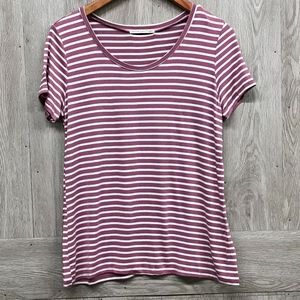 Pink White Striped Round Neck Short Sleeve Tee A6